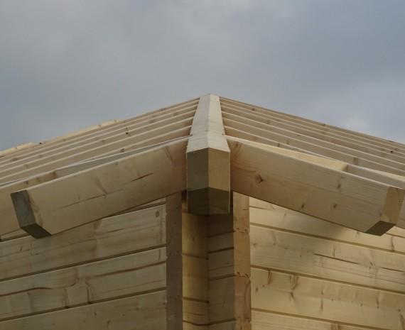 Detail krovu dřevostavby