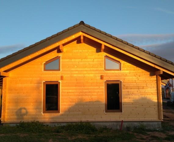 Přízemní srub s oknami a venkovním nátěrem